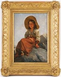 jeune paysanne assise sur les rochers by jean-léonard lugardon