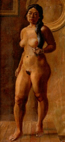 female standing nude with gold bracelet by pierce rice
