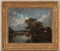 paysage avec vaches à l'étang by leon victor dupré