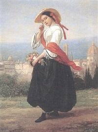 ung kvinna med blomsterkorg, utsikt över florens by charles augustin wauters