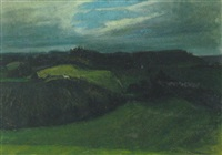 udsigt over bakket gront landskab by alfred simonsen