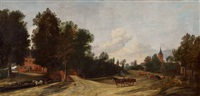 weite landschaft mit dorfstrasse by anthonie van borssom