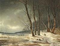 vinter i skoven med kone og mand, der sanker brænde på en sti by frederik michael ernst fabritius de tengnagel