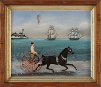 a mermaid navigating a horse-drawn buggy across the beach. two ships, a balloon and a lighthouse in the background by ralph eugene cahoon jr.