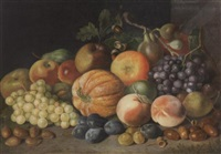 stilleben mit kürbissen, weintrauben, äpfeln, pfirschen und pflaumen by johann daniel bager