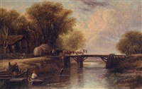 horses and cart crossing a bridge by g. leslie