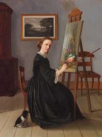 portræt af en kvindelig blomstermaler (hanne hellesen?) by emilius baerentzen
