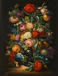a pair of floral still lifes by flemish school (19)