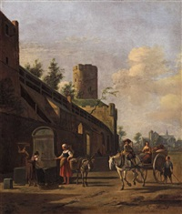 a horse and cart by sankt pantaleon in cologne by gerrit adriaensz berckheyde