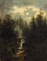 mondnacht bei kirchberg am wechsel by heinrich adam