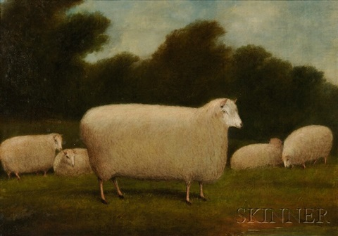 sheep in a pastoral landscape by american school 19
