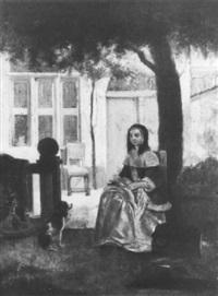 junge frau in tracht sitzt unter einem baum und rupft federvieh by bryce smith