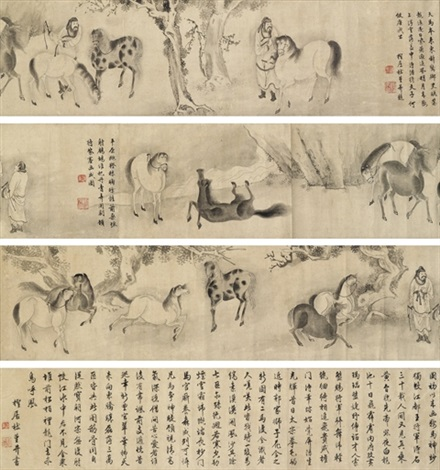 examining the horses scroll by du jin