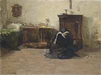 junge klosterschwester in ihrer zelle by cesare laurenti