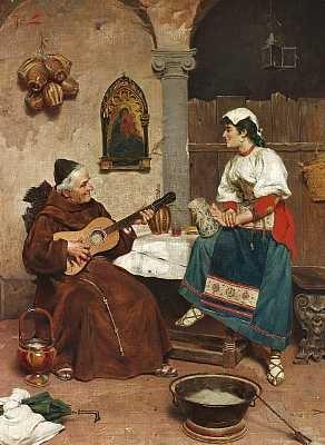 en munk underholder en ung italienerinde med guitarspil by e torrini
