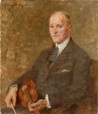 portrait eines herren mit geige by oskar hagemann