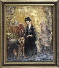 dame mit hund in stimmungsvollem interieur by gerhard peter franz vilhelm munthe