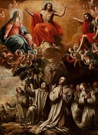 la aparición de cristo, la virgen y san juan bautista a los cartujos by pablo félix rabiella y sanchez