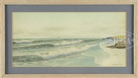 beach scene with crashing waves by george howell gay