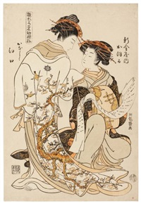 la courtisane kaori de la shin kanaya (oban tate-e from himagata wakana no hatsu moyo - modèles de mode) by isoda koryusai