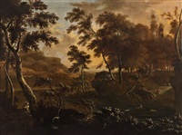 a southern landscape with hunting scenes by frederick de moucheron