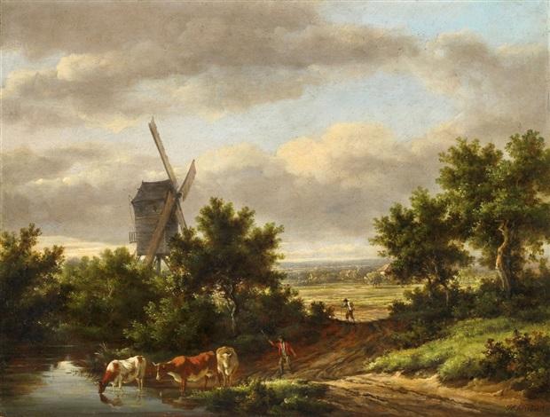 landschaft mit windmühle by henry milbourne