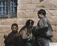 knaben und alte frau in tibetischer tracht by liu ning