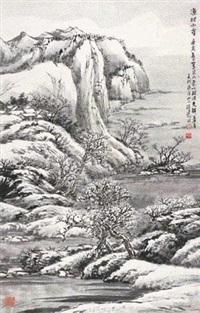 渔村小雪 镜片 设色纸本 by xu jianming