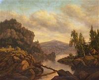 bjerglandskab med hytter på klipperne by heinrich buntzen