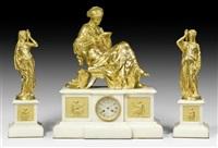 kamingarnitur la liseuse (clockwork by auguste lemaire) (+ 2 sculptures, smllr; set of 3) by alexandre schoenewerk