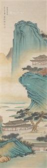 青绿山水 挂轴 设色纸本 by he haixia