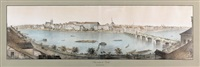 panorama de basle, prise du cafe du pont (on 2 joined sheets) by rudolf huber