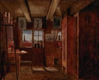 kunstnerens atelier i nyhavn med udsigt til christianskirken og et skib på kanalen by hans jörgen hammer