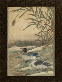 two chinese paintings of birds and plants by anonymous-chinese (qing dynasty)