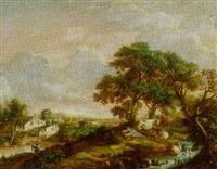 landskab, i venstre side by, i hojre side kvinde og koer under træ by enrico gaeta