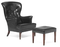 wingback easy chair and matching stool (pair) by frits henningsen