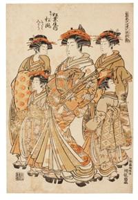 courtisanes en promenade (oban tate-e from himagata wakana no hatsu moyo - modèles de mode) by isoda koryusai