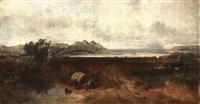weite seelandschaft mit campierenden by john wright oakes