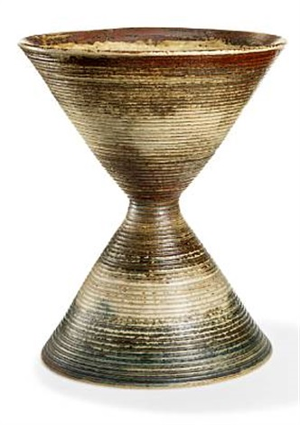 cone shaped vase modelled with horizontal fluted pattern by axel johann salto