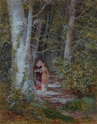 confidences - two women on a woodland path by isabel oakley naftel