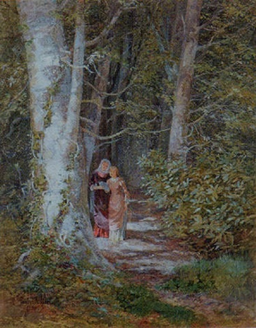 confidences two women on a woodland path by isabel oakley naftel