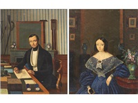 a portrait of an architect; also a companion painting, possibly his wife (pair) by french school