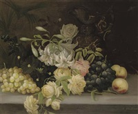 a gourd, white and black grapes, apples and a pear with a vase and a jug on a marble ledge (+ lillies and roses, hollyhocks, grapes and peaches, and a ewer, on a stone ledge; pair) by edwin steele
