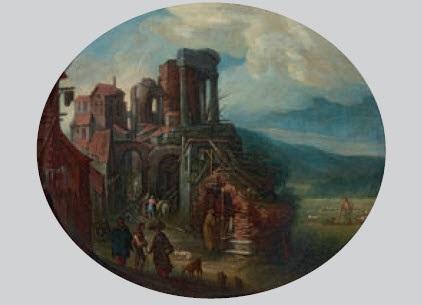 landschaft mit häusergruppe und figurenstaffage by tobias verhaecht