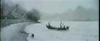 fischerboot am chiemseeufer mit blick auf die fraueninsel by curt leopold