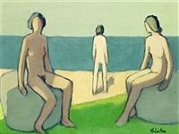 figurer på stranden ii by helge linden