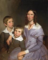portrait einer dame mit ihren zwei söhnen by emanuel gottlieb leutze