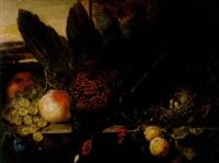 stilleben med fasan, frukter och fågelbo på stenhäll by james charles ward