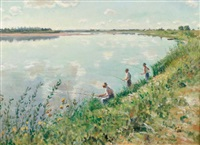 fisherman by river by alfred louis andrieux