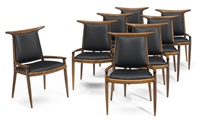 rare hornback dining chairs (set of 8) by sam maloof